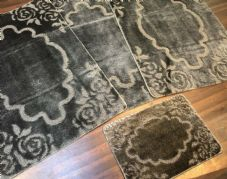 ROMANY GYPSY WASHABLE MATS FULL SETS OF 4 MATS-RUGS X LARGE 100X140CM DARK/GREY